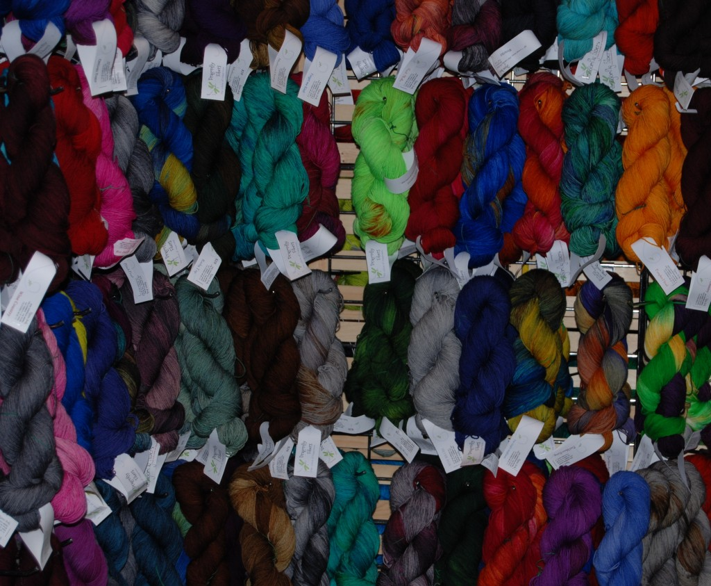 Yarns at Dragonfly Fibers Booth At Stitches West 2014