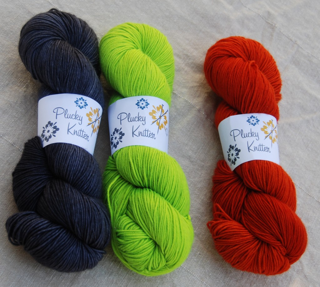 Primo Fingering from Plucky Knitter in the colors: Lonesome Highway - Tip Toe - Whatta Punk